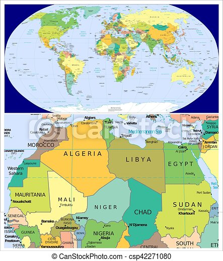 World Map Northern Africa Northern africa and world. World map and close up of northern