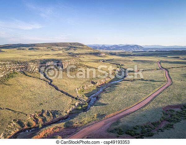 northern Colorado foothills aerial view - csp49193353