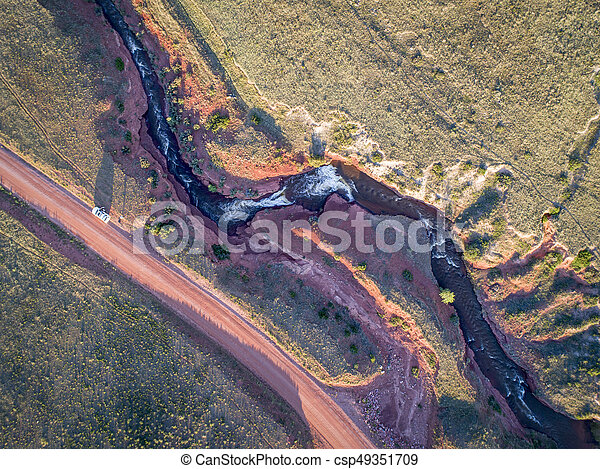 northern Colorado foothills aerial view - csp49351709