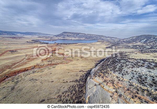 northern Colorado foothills aerial view - csp45972435