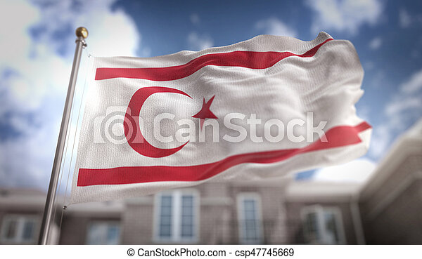 Northern Cyprus Flag 3D Rendering on Blue Sky Building Background - csp47745669