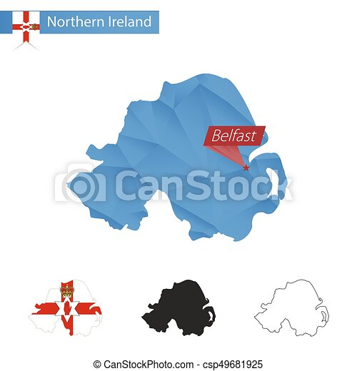 Northern Ireland Blue Low Poly Map With Capital Belfast Northern