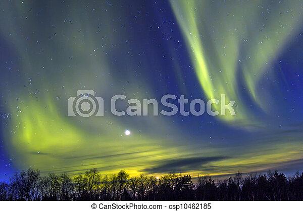 Northern Lights (Aurora borealis) over snowscape. - csp10462185