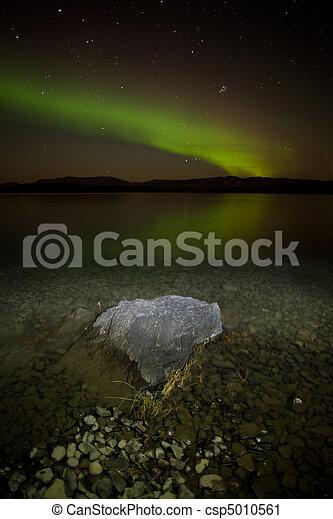 Northern lights mirrored on lake - csp5010561