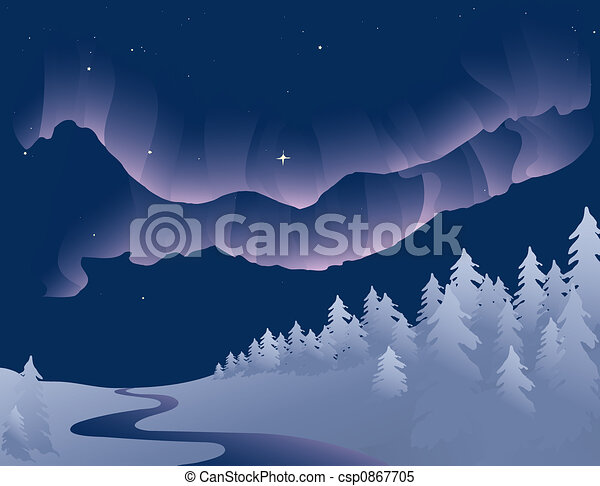 Vector Based Illustration Of The Northern Lights Or Aurora Borealis