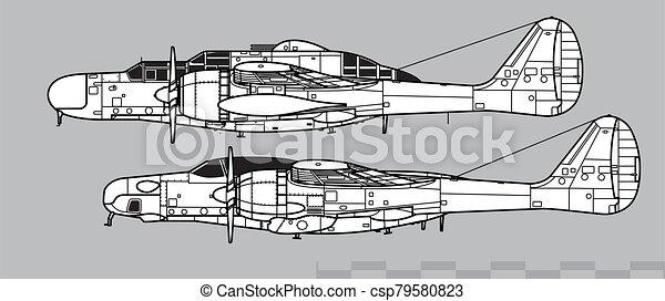Northrop P-61 Black Widow & F-15 Reporter. Outline vector drawing - csp79580823