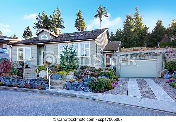 Northwest Tile Roof Small House With A Beautiful Flowerbed Stoned Pretty Flowerbed In Front Of A Classic One Story American Canstock