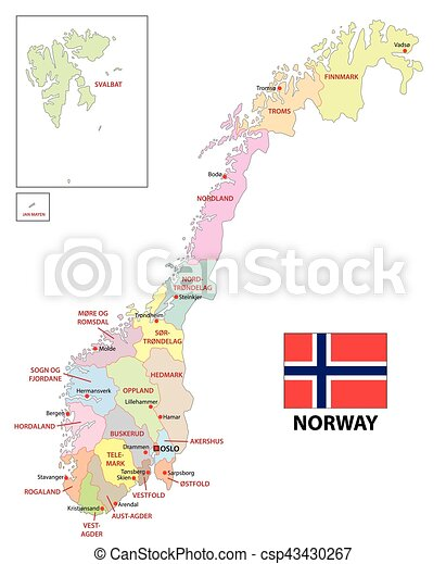 La Norvegia Cartina.Norvegia Amministrativo Mappa Amministrativo Mappa Bandiera Norvegia Politico Canstock