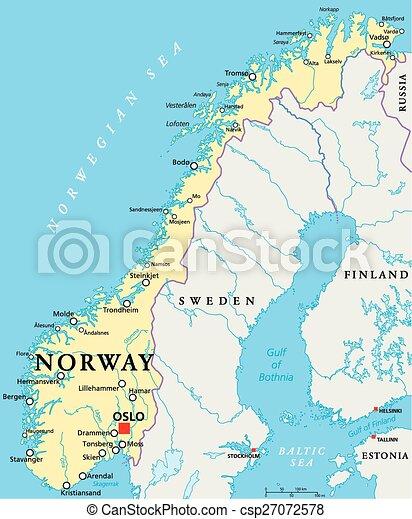 Cartina Norvegia Politica.Norvegia Politico Mappa Mappa Scaling Illustration Citta Capitale Nazionale Politico Oslo Fiumi Lakes Profili Canstock