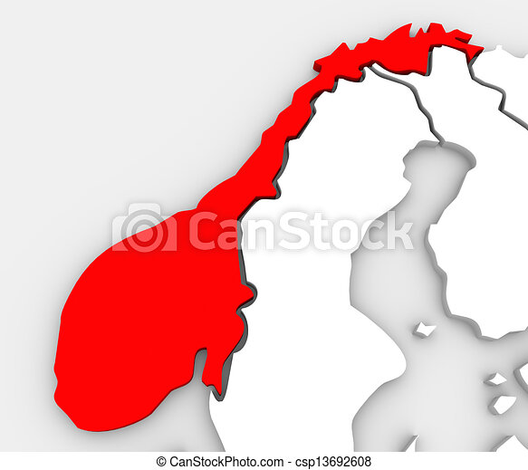 Norway Abstract 3D Map Europe Scandinavia Country - csp13692608