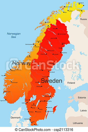 Karta Sverige Norge Finland.Color Map Of Norway And Sweden Country