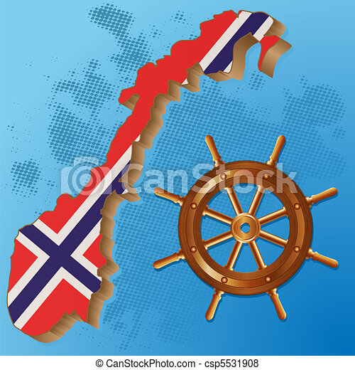 Vector Of Norway Flag Map Flag Of Norway And Steering Wheel On A - Norway map drawing