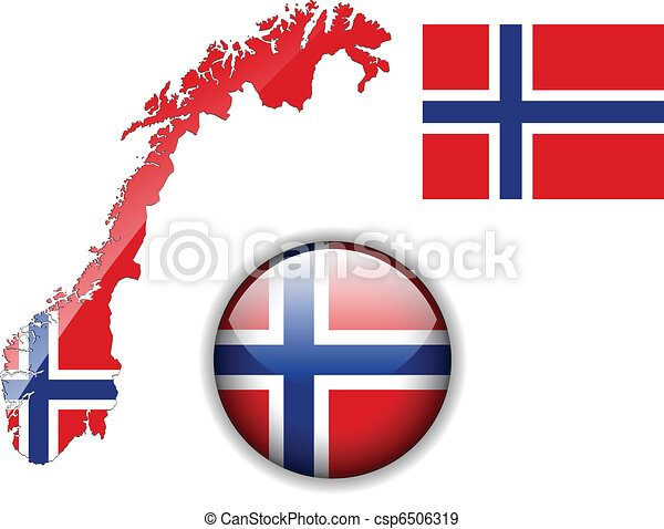 EPS Vectors Of Norway Flag Map And Glossy Button Norway Flag - Norway map drawing