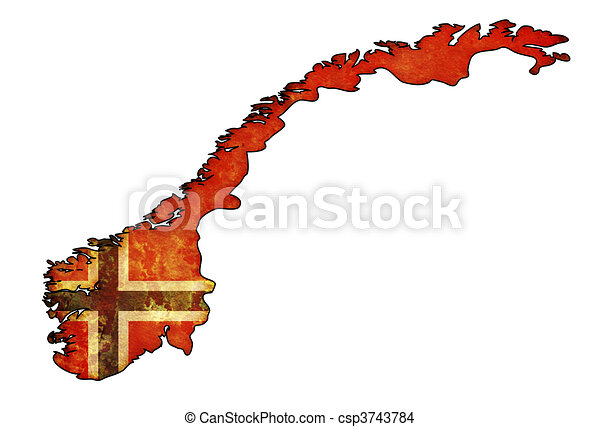 Drawing Of Norway Flag On Territory Old Map Of Norway With Flag - Norway map drawing