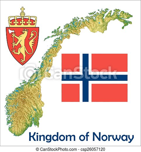 Vector Illustration Of Norway Map Flag Coat Norway Map Aerial - Norway map eps