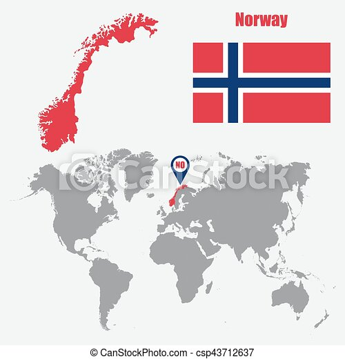 Norway map on a world map with flag and map pointer vector norway map on a world map with flag and map pointer vector illustration gumiabroncs Image collections