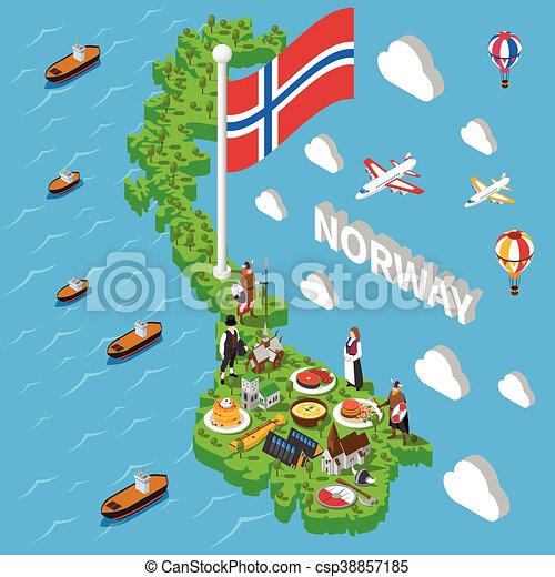 Vector Of Norway Map Touristic Symbols Isometric Poster - Norway map eps