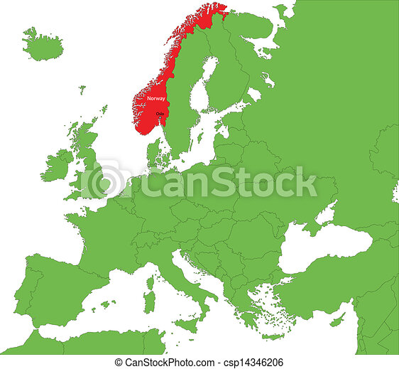 Norway On Map Of Europe.Norway Map Location Of Norway On The Europe Continent