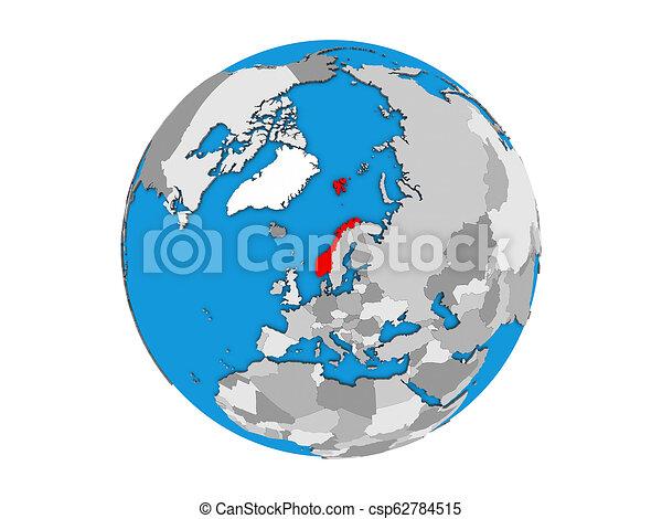 Norway on 3D globe isolated - csp62784515