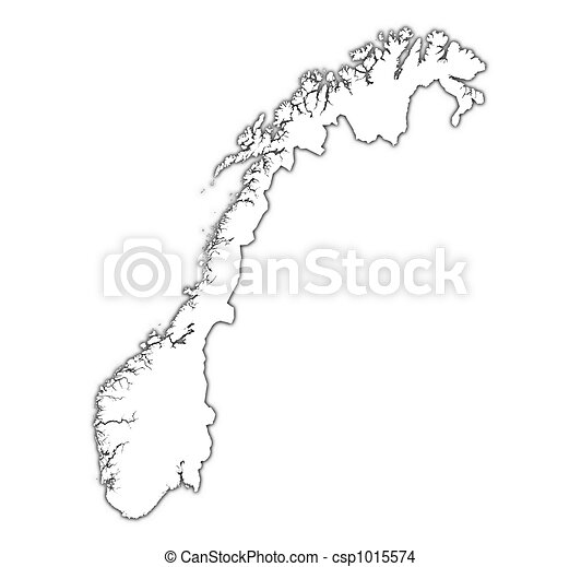 Drawing Of Norway Outline Map With Shadow Detailed Mercator - Norway map clipart