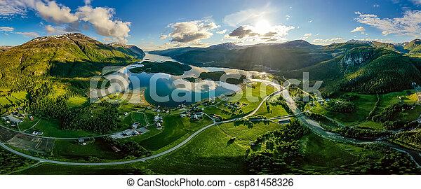norway., panorama, natur, schöne  - csp81458326