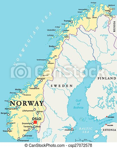 Norway Political Map - csp27072578