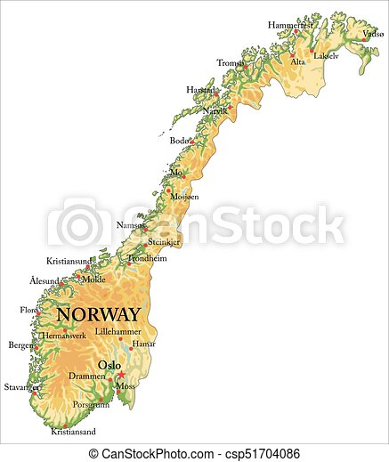 Cartina Politica Norvegia.Norway Relief Map Highly Detailed Physical Map Of Norway In Vector Format With All The Relief Forms Regions And Big Canstock