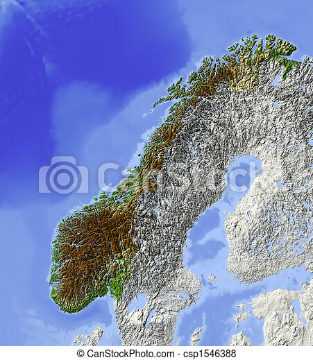 Stock Illustration Of Norway Shaded Relief Map Norway Shaded - Norway map drawing