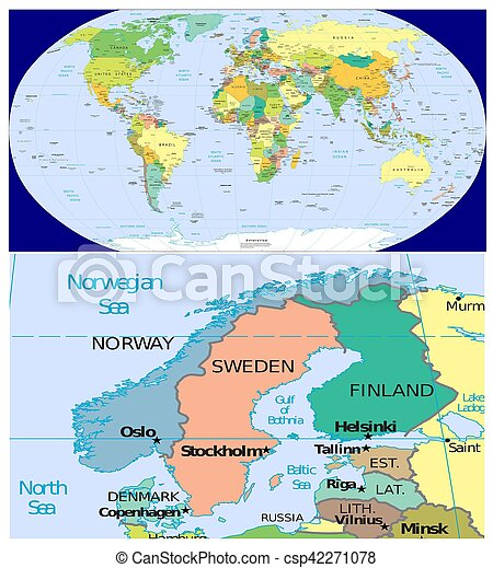 Norway sweden finland denmark and world. Map of world and close up ...