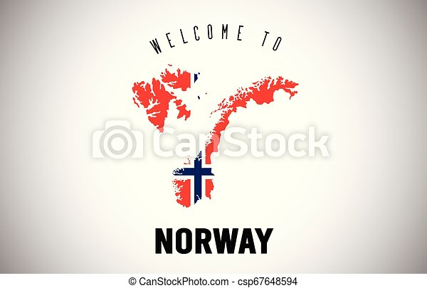 Norway Welcome to Text and Country flag inside Country border Map Vector Design. - csp67648594