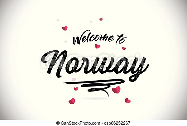 Norway Welcome To Word Text with Handwritten Font and Pink Heart Shape Design. - csp66252267