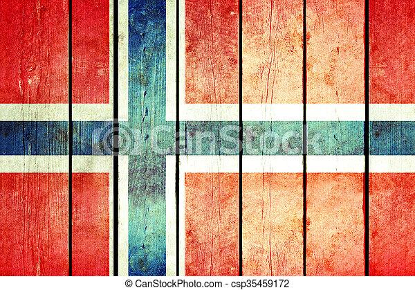 Norway wooden grunge flag. - csp35459172