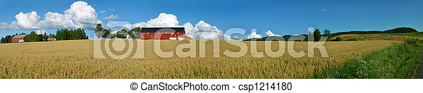 Norwegian Farm Panorama 2 - csp1214180