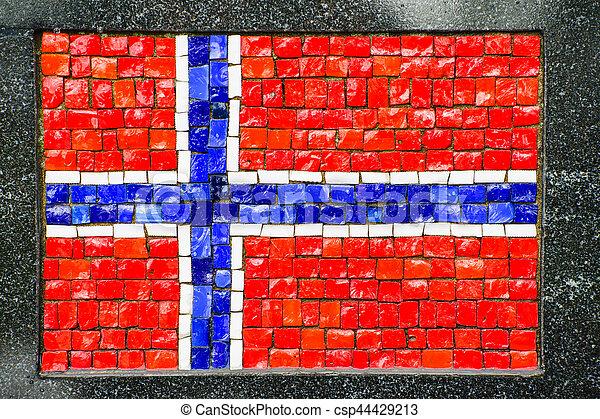 Norwegian flag made of little mosaic tiles - csp44429213