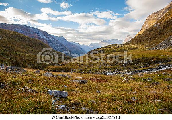 Norwegian mountain autumn landscape near Geiranger - csp25627918