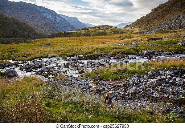 Norwegian mountain autumn landscape near Geiranger - csp25627930