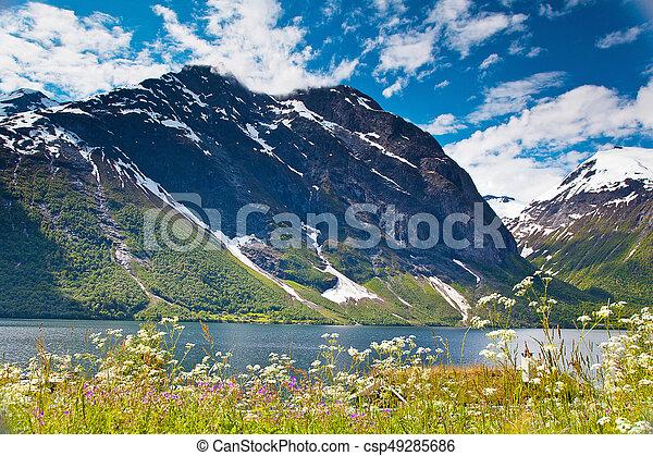 norwegian mountain lake landscape Eikesdalen - csp49285686