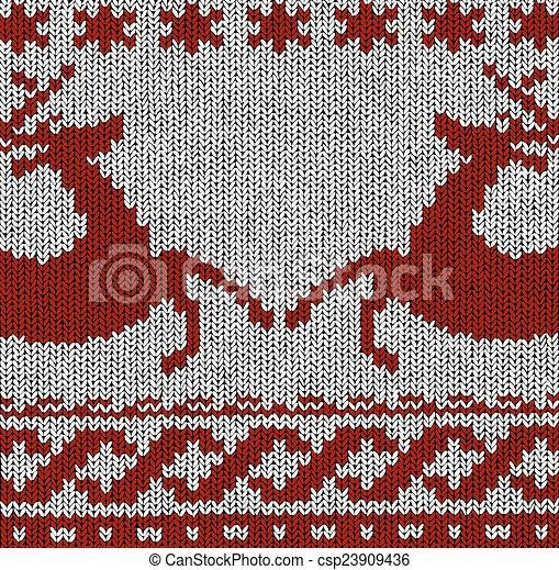 Norwegian Pattern Reindeer Christmas Vector Norwegian Knitting