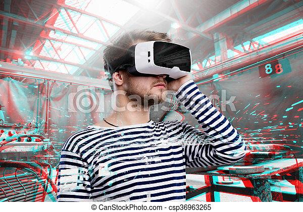 nosení, moný realita, factory., goggles., svařování, voják - csp36963265