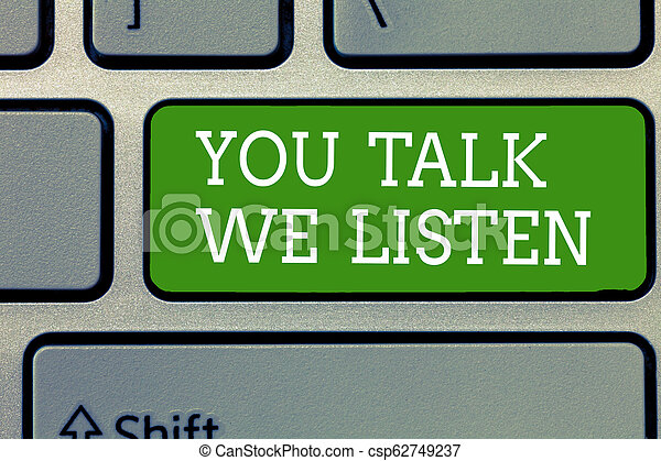 Escribir textos de palabras, hablar, escuchar. Un concepto de negocios para una conversación motivacional de dos maneras - csp62749237
