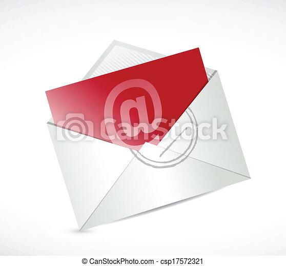 Contacto rojo con nosotros diseño de ilustración por correo - csp17572321