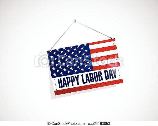 Día de trabajo nosotros colgando ilustraciones bandera - csp24163053
