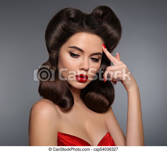 Nostalgia Pin Up Girl With Red Lips Makeup And Retro Curls Hair