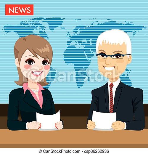 notícia, elaboração do relatório, âncoras - csp36262936