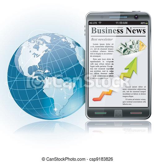 notícia, global, business., esperto, phon - csp9183826