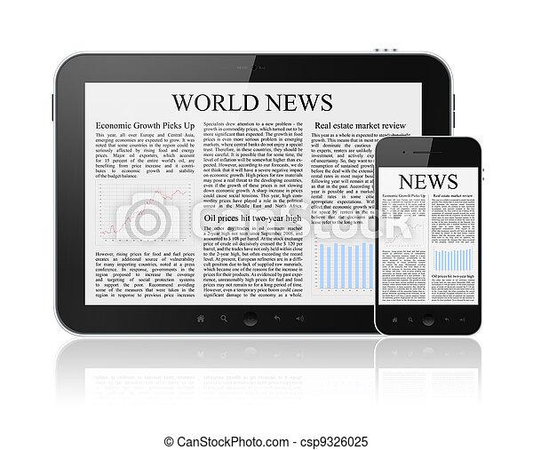 notícia, modernos, dispositivos, digital - csp9326025
