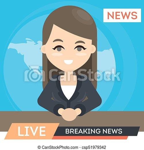 notícias tv, anchor. - csp51979342