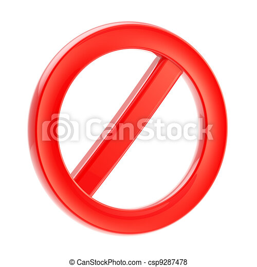 Not allowed forbidden sign isolated on white - csp9287478
