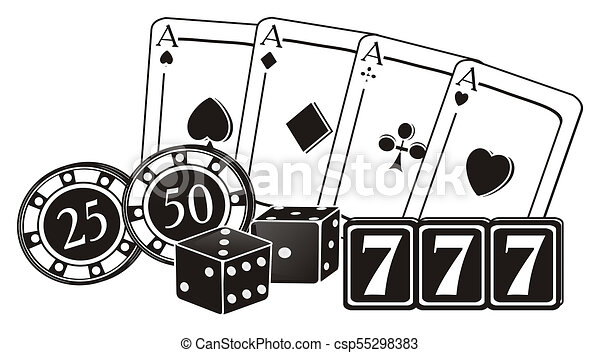 Not Colored Numbers And Symbols Of Las Vegas Black And White