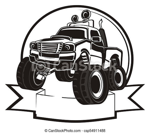Not Colored Truck And Ribbon Black And White Monster Truck And Banner With Clean Ribbon